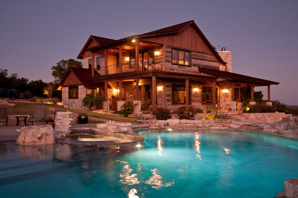 Cannon Pools for a Rustic Exterior with a Wood and Trestlewood Outdoor by Trestlewood