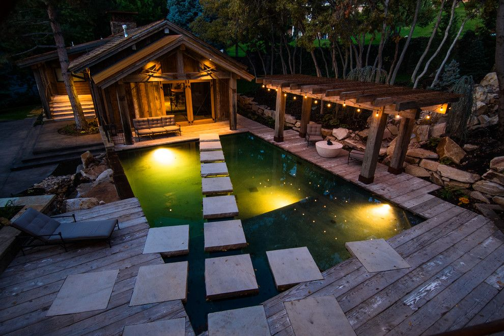 Cannon Pools for a Rustic Pool with a Pool House and 2013 Projects by Trestlewood