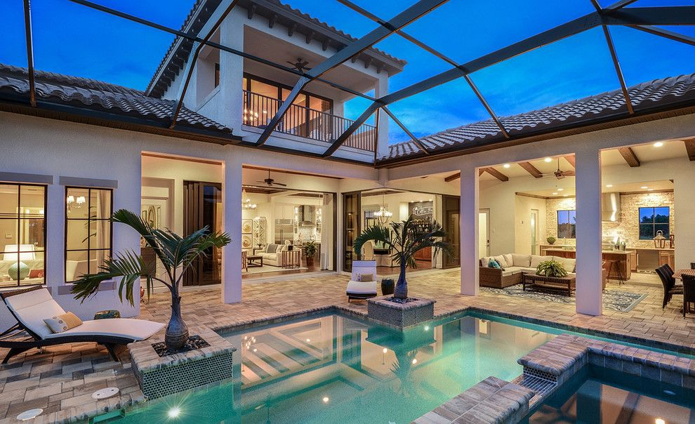 Cannon Pools for a Tropical Patio with a Mediterranean Floor and Mindera: A John Cannon Home by Beasley & Henley Interior Design