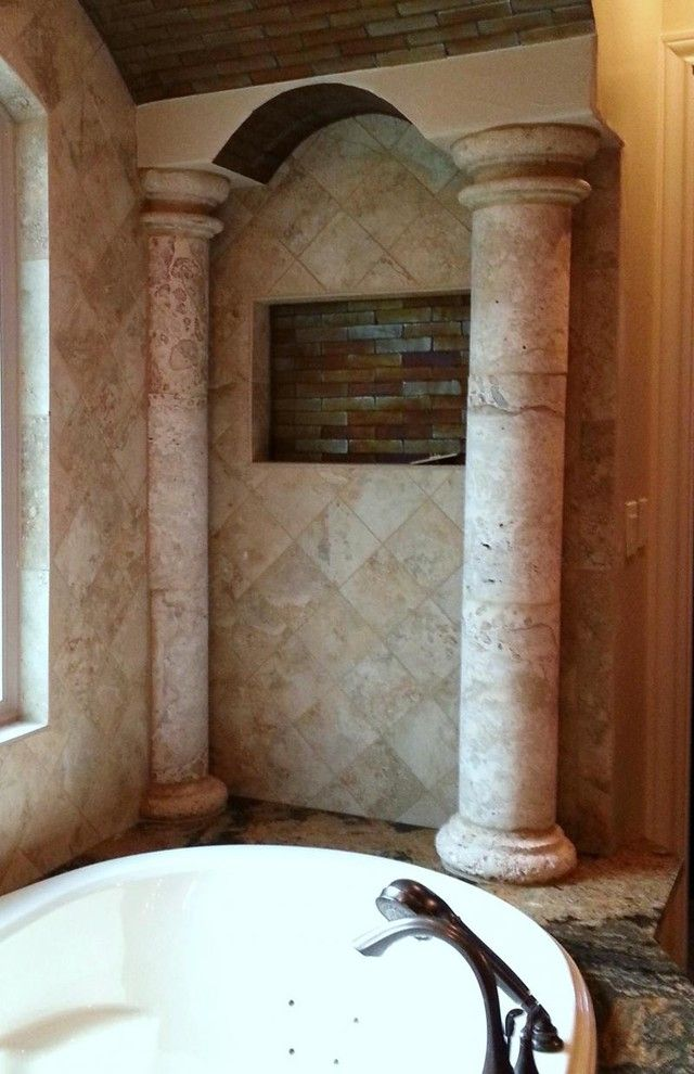 Cantera Stone for a  Bathroom with a Column Decor and Columns by Cantera Stone Design, Llc
