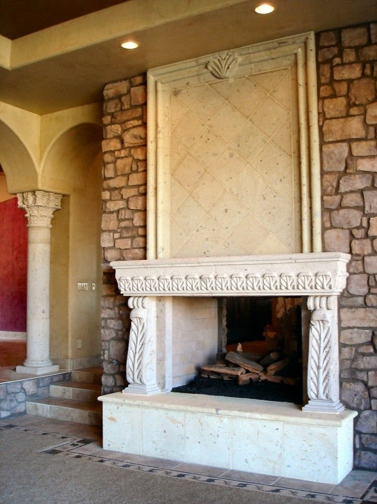 Cantera Stone for a Traditional Living Room with a Divided Light Doors and Cantera Stone Fireplace by Rustic Decor