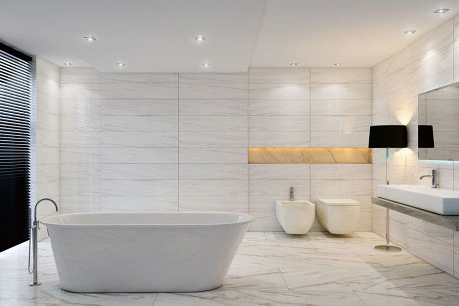 Capco Tile for a  Bathroom with a Porcelain Marble Look and Bathrooms by Capco Tile & Stone