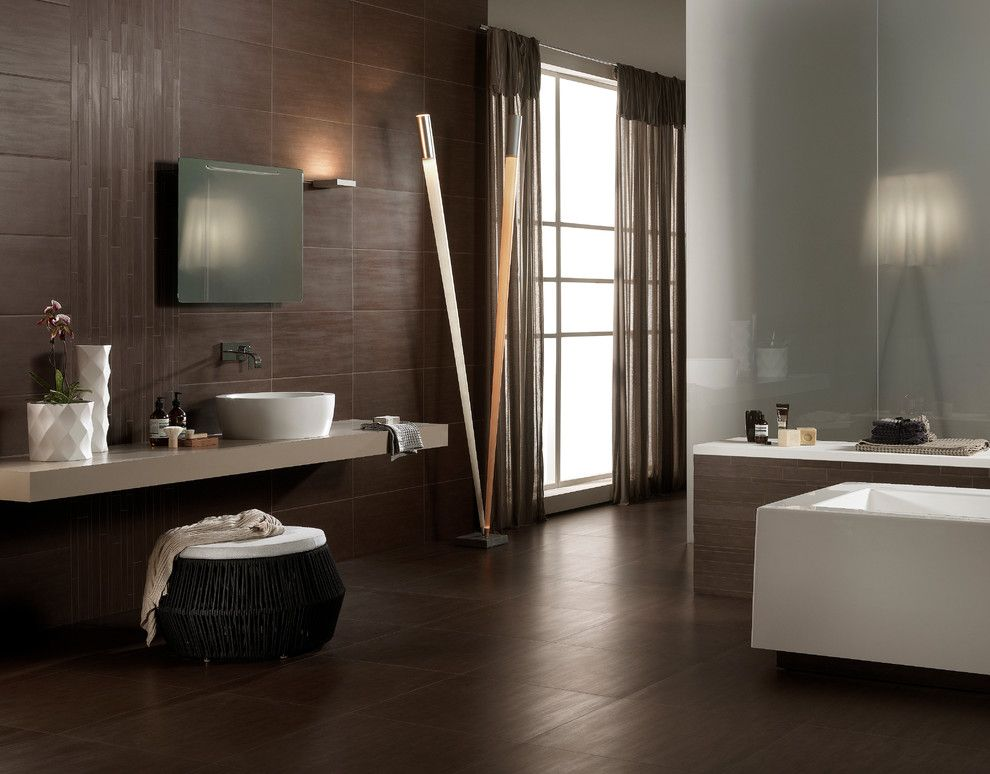 Capco Tile for a  Bathroom with a Vessel Sink and Bathrooms by Capco Tile & Stone