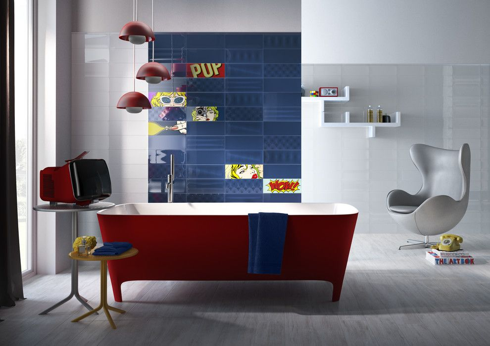 Capco Tile for a Modern Bathroom with a Pop and Bathrooms by Capco Tile & Stone