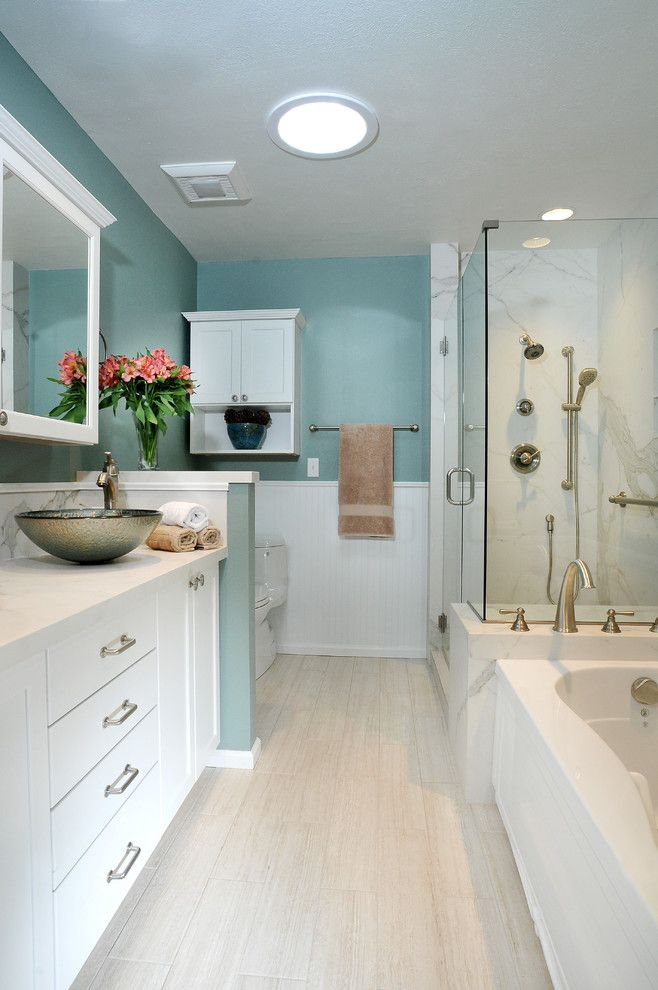 Capco Tile for a Transitional Bathroom with a Plank Floor and Bathrooms by CAPCO Tile & Stone