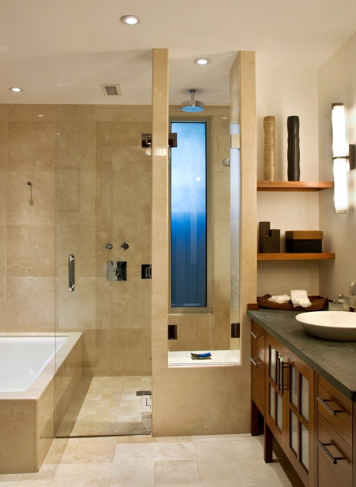 Cardinal Shower Doors for a Contemporary Bathroom with a Raised Sink and Abe Residence by Lapis Design Partners