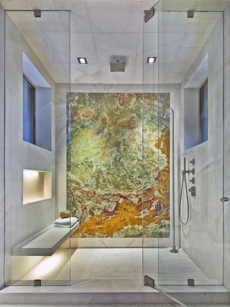 Cardinal Shower Doors for a Contemporary Bathroom with a Shower and Contemporary Shower by 186 Lighting Design Group - Gregg Mackell