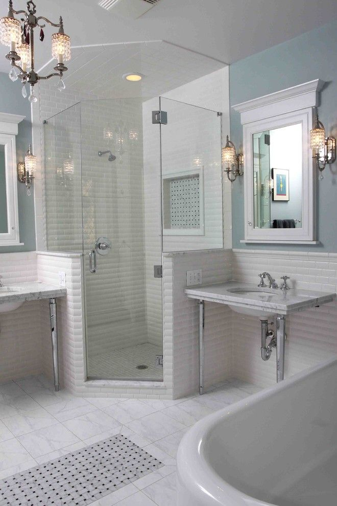 Cardinal Shower Doors for a Traditional Bathroom with a Double Vanity and Vintage Bathroom by Normandy Remodeling