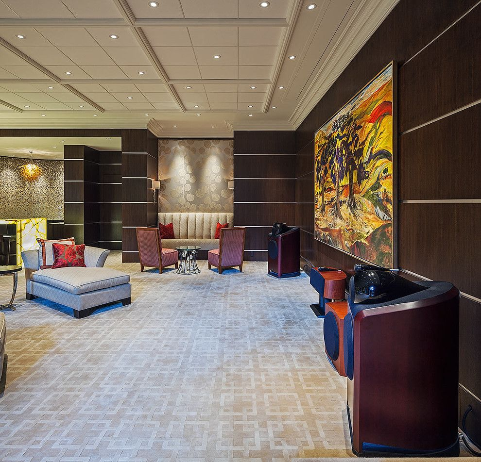Carpet Tech Lubbock for a Contemporary Home Theater with a Contemporary Artwork and Home Entertainment Space 1 by Peter A. Sellar   Architectural Photographer
