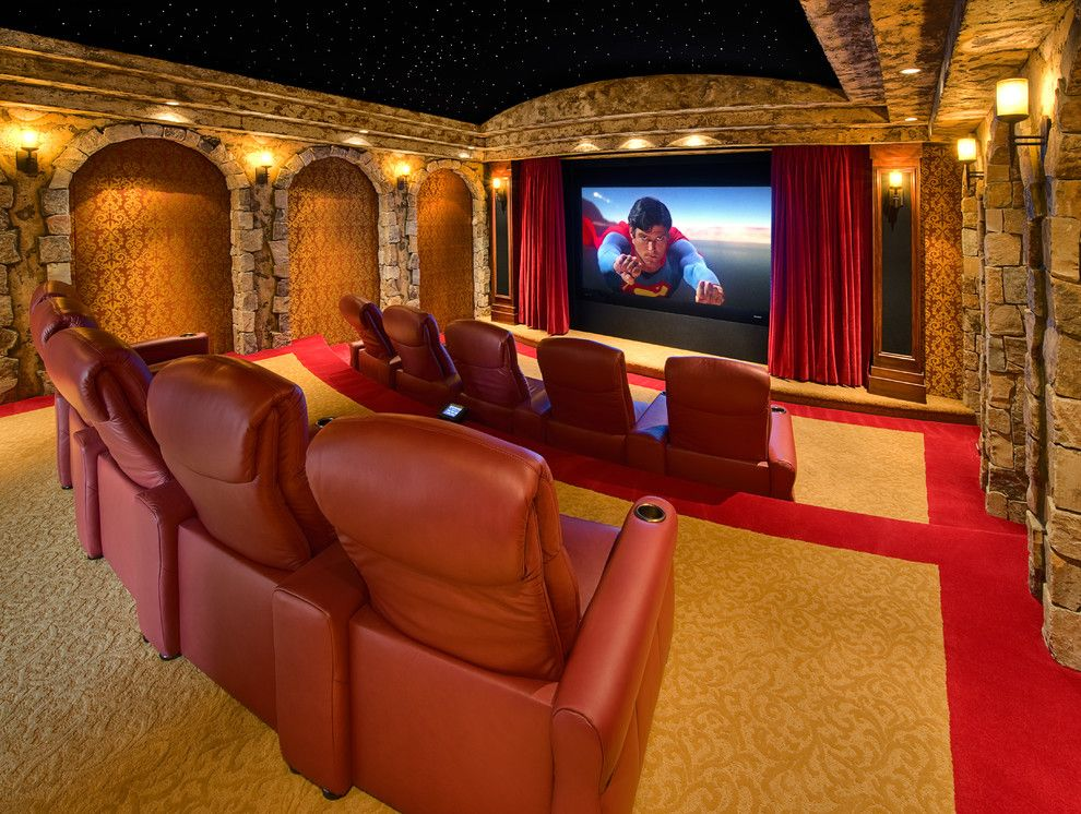 Carpet Tech Lubbock for a Mediterranean Home Theater with a Risers and Tarah Theater by Cinematech Theater Seating, Design & Acoustics