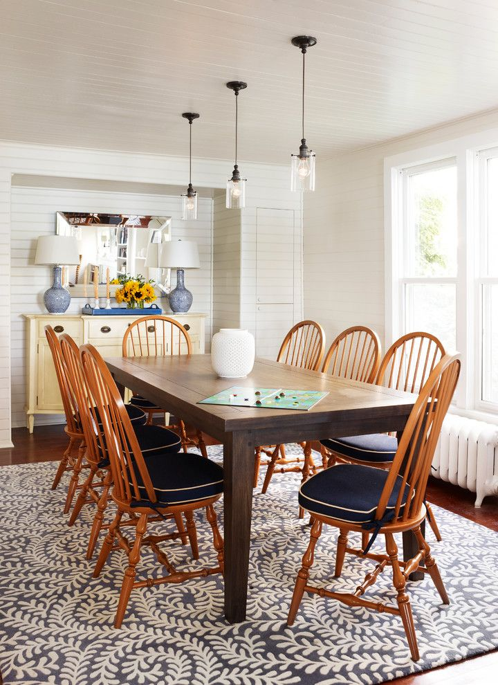 Carpet Tech Lubbock for a Traditional Dining Room with a Wood Floor and Bay Front Summer Home by Tom Stringer Design Partners