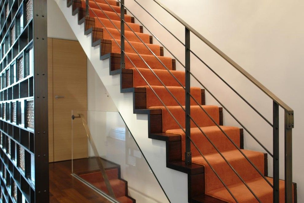 Carpeted Stairs for a Contemporary Staircase with a Walnut Floor and Greenwich Village Townhouse by Axis Mundi