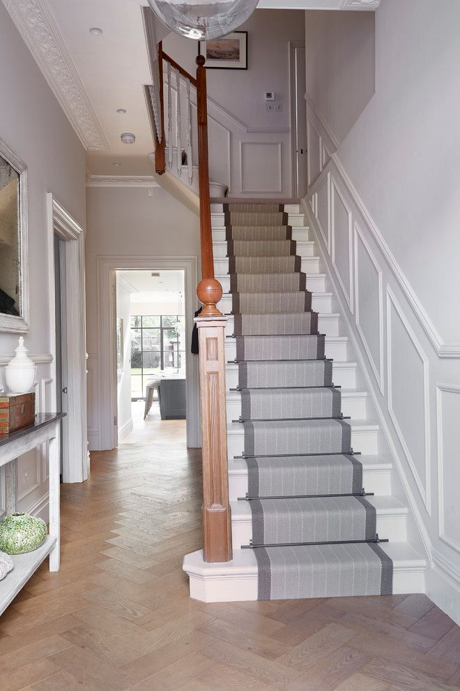 Carpeted Stairs for a Traditional Staircase with a Banister and Traditional Staircase by Blakes London