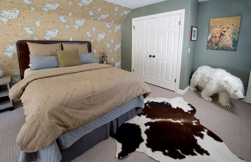 Carpeted Stairs for a Transitional Bedroom with a Transitional and Boy's Bedroom by K. D. Ellis Interiors