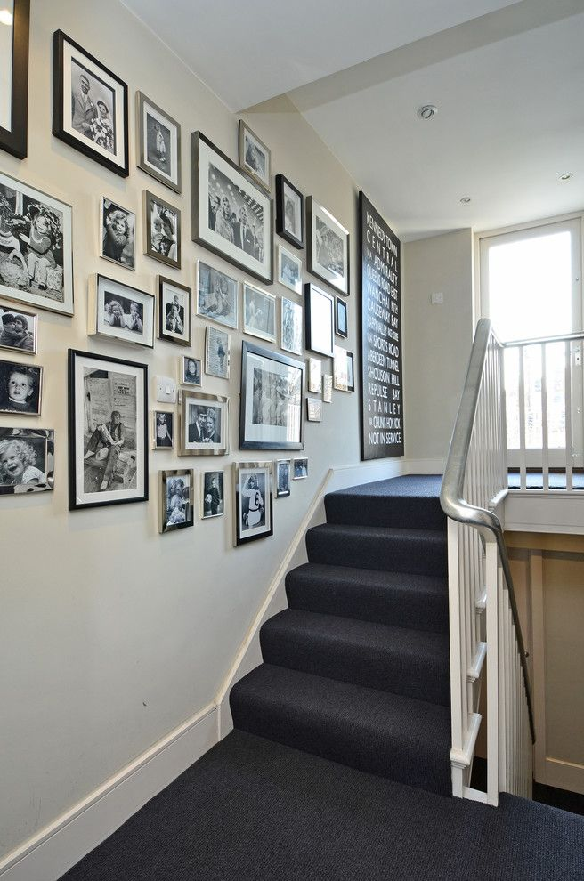 Carpeted Stairs for a Transitional Staircase with a Picture Wall and Luxurious South Kensington Home by Teresa Superville Photography