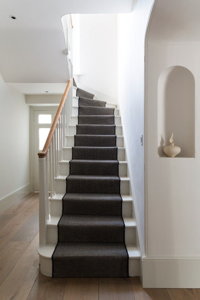 Carpeted Stairs for a Victorian Staircase with a White Painted Stairs and Country Affair by Bulthaup by Kitchen Architecture