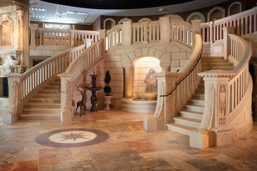 Carved Creations for a Mediterranean Staircase with a Stone Stairs and Carved Stone Creations Showroom and Outdoor Gallery by Carved Stone Creations, Inc.