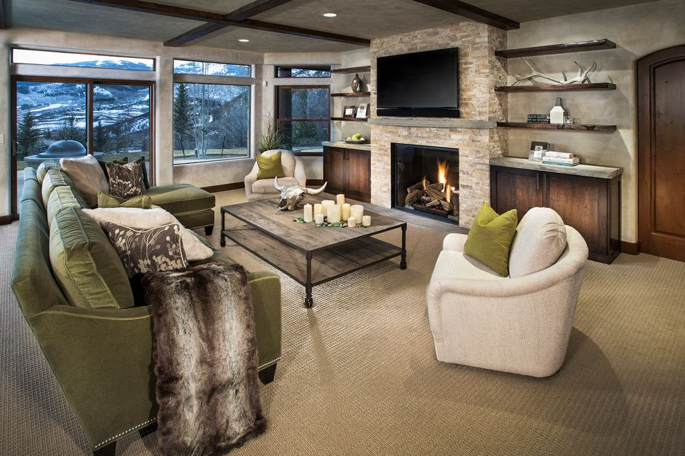 Cathers for a Contemporary Family Room with a Green Sofa and Horse Ranch by Cathers Home