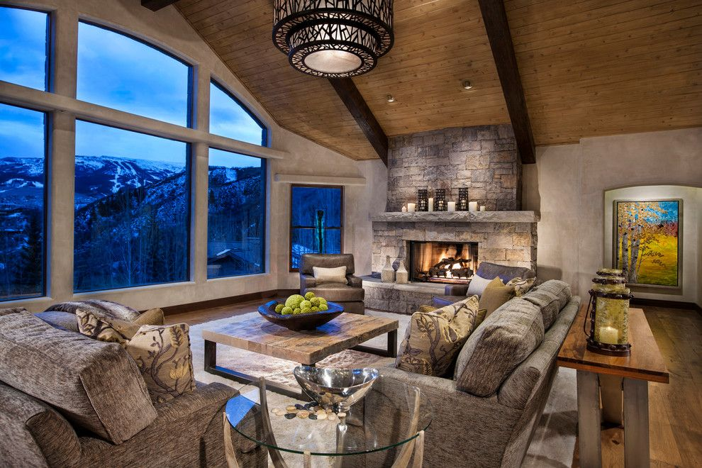 Cathers for a Contemporary Living Room with a Fireplace and Horse Ranch by Cathers Home