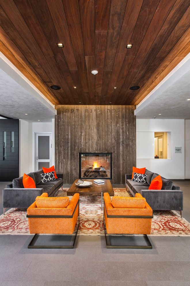 Cathers for a Contemporary Living Room with a Wood Accent Wall and Aspen JCC by Cathers Home