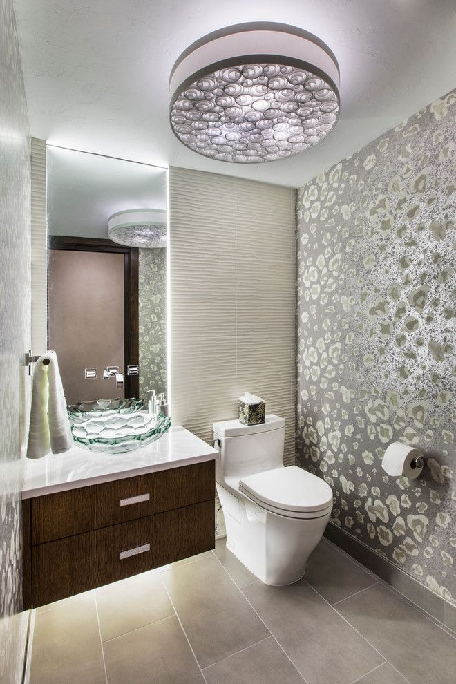 Cathers for a Contemporary Powder Room with a Ceiling Light and Colorful Mountain Retreat by Cathers Home