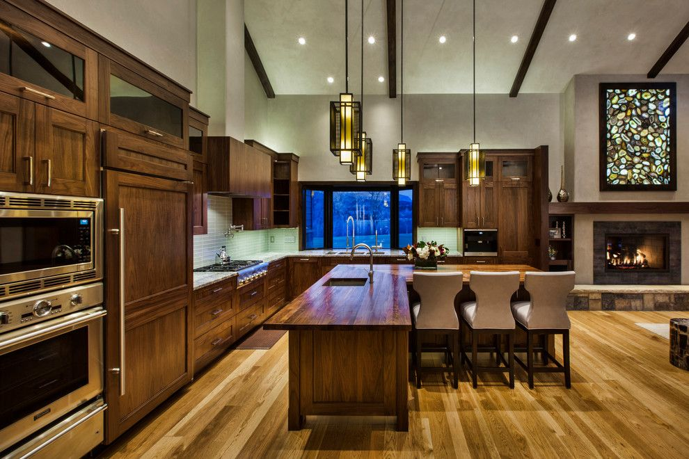 Cathers for a Rustic Kitchen with a Recessed Lighting and Colorful Mountain Retreat by Cathers Home