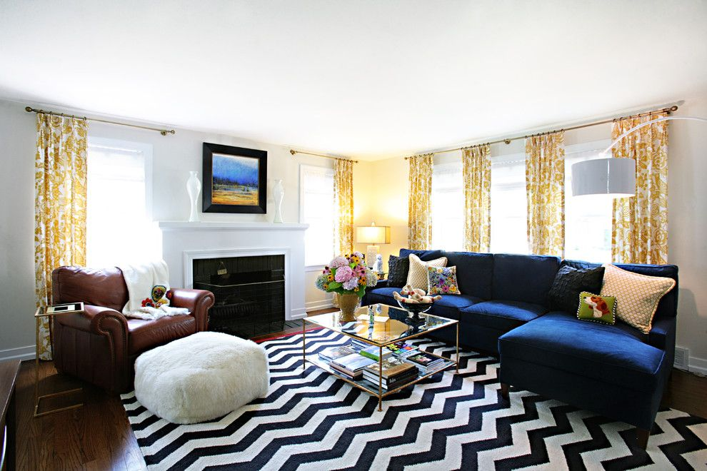 Cb2 Locations for a Transitional Living Room with a Chevron and Western Springs Living Room by Debbie Basnett, Vintage Scout Interiors