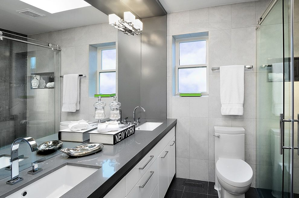 Ceasar Stone for a Contemporary Bathroom with a Gray Countertop and New Haven Drive by Belinda Albo Design Studio