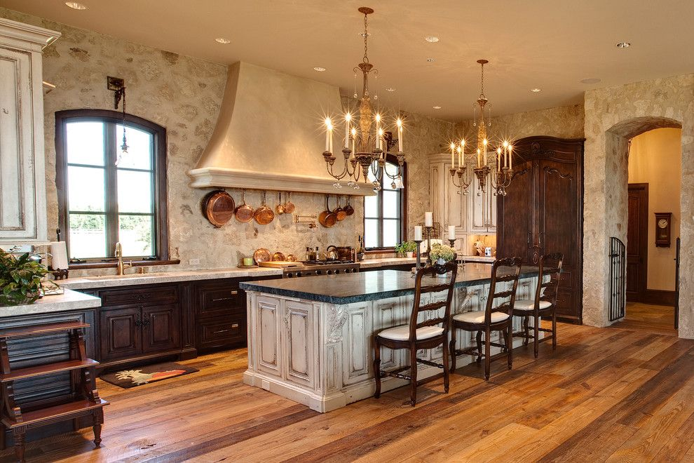 Ceasar Stone for a Mediterranean Kitchen with a Slat Back Dining Chairs and Wye River Estate by Pyramid Builders