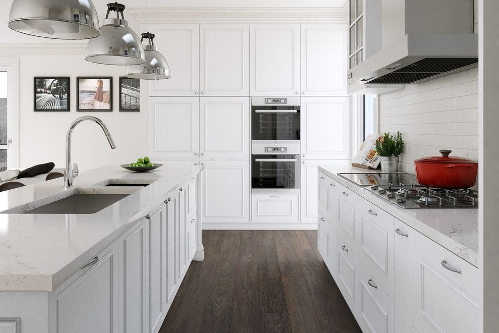 Ceasar Stone for a Victorian Kitchen with a Traditional Interior and Aberfeldie Project by Destination Living