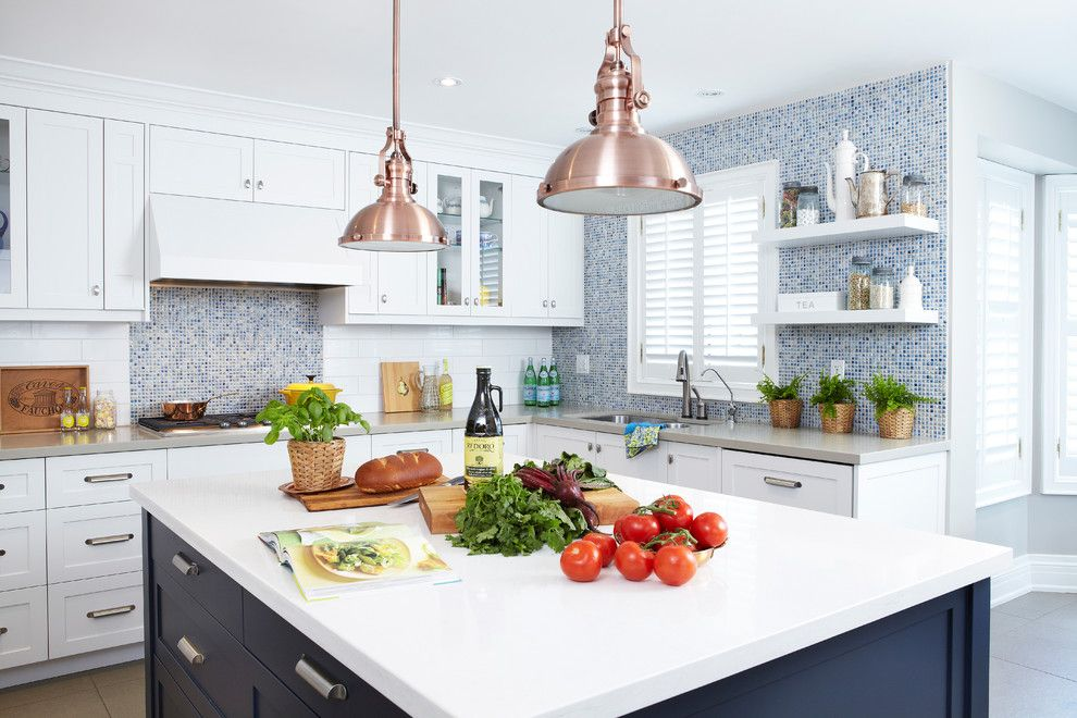 Ceasarstone for a Contemporary Kitchen with a Two Tone Cabinets and Moody Blues by Sealy Design Inc.
