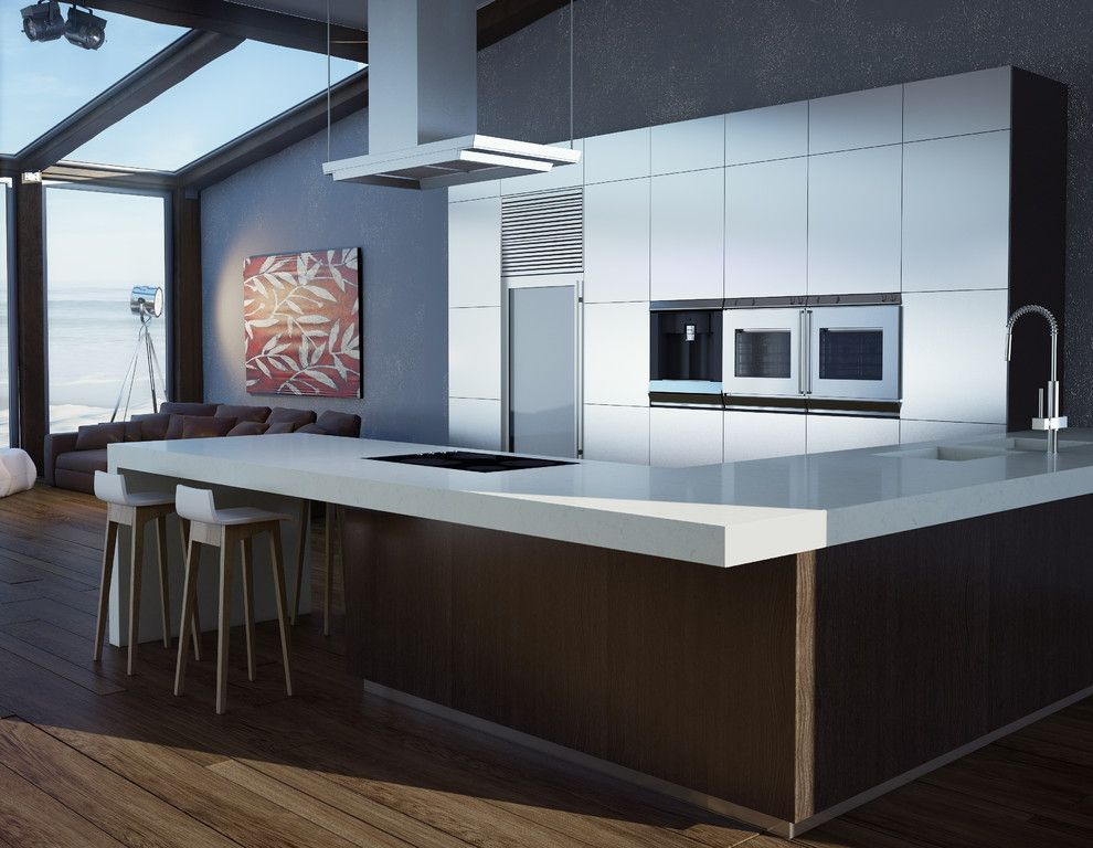 Ceaser Stone for a Contemporary Kitchen with a Contemporary and Contemporary Kitchen by Caesarstoneus.com