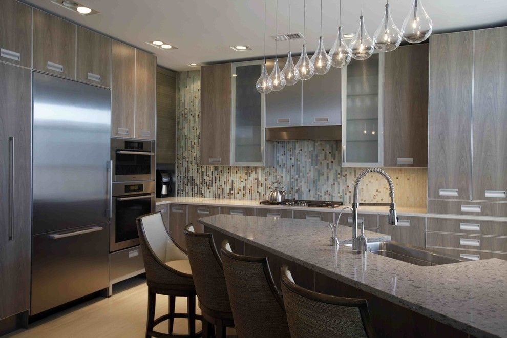Ceaser Stone for a Contemporary Kitchen with a Eat in Kitchen and Wesley Grove Condominium Kitchen by Robert Legere Design