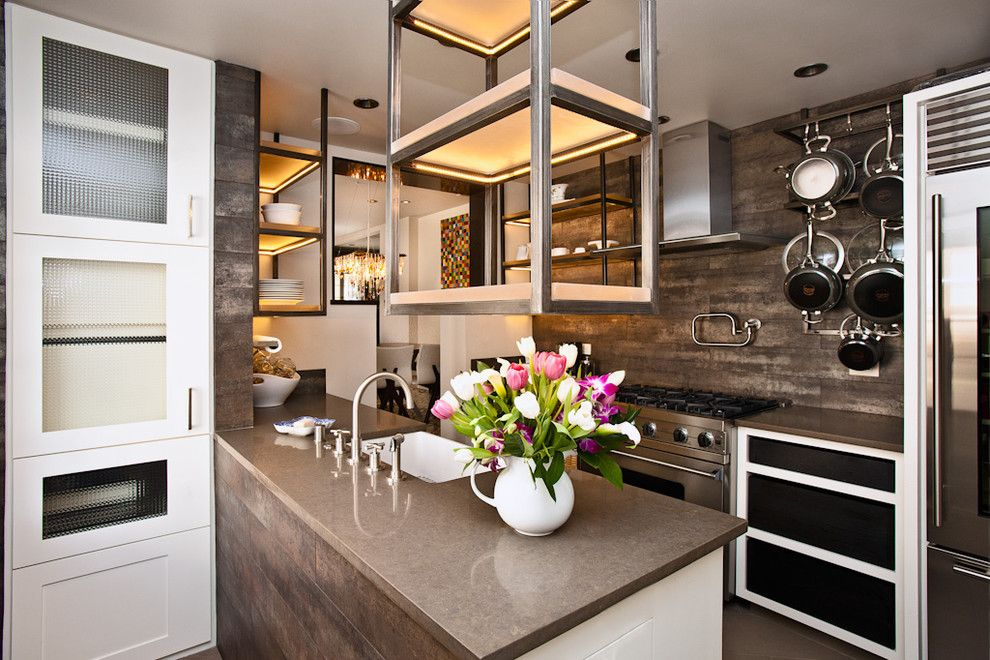 Ceaser Stone for a Contemporary Kitchen with a Hanging Pot Rack and Historic Charmer in Santa Fe by Samuel Design Group