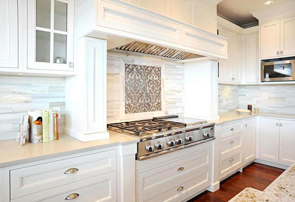 Ceaser Stone for a Transitional Kitchen with a White and Capital Hill Residence by Enviable Designs Inc.
