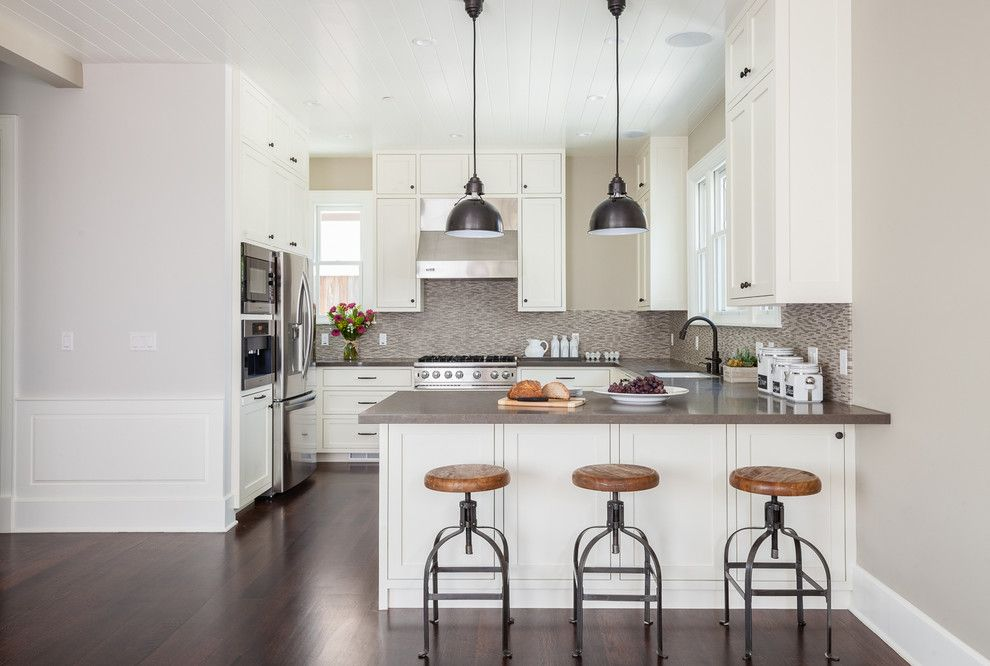 Ceaserstone for a Traditional Kitchen with a U Shaped Kitchen and Palo Alto Kitchen by Lindsay Chambers Design