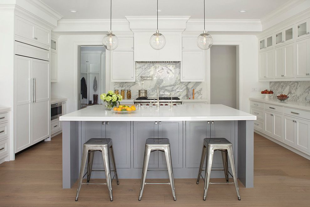 Ceaserstone for a Transitional Kitchen with a Counter Stools and Addison House by L'oro Designs