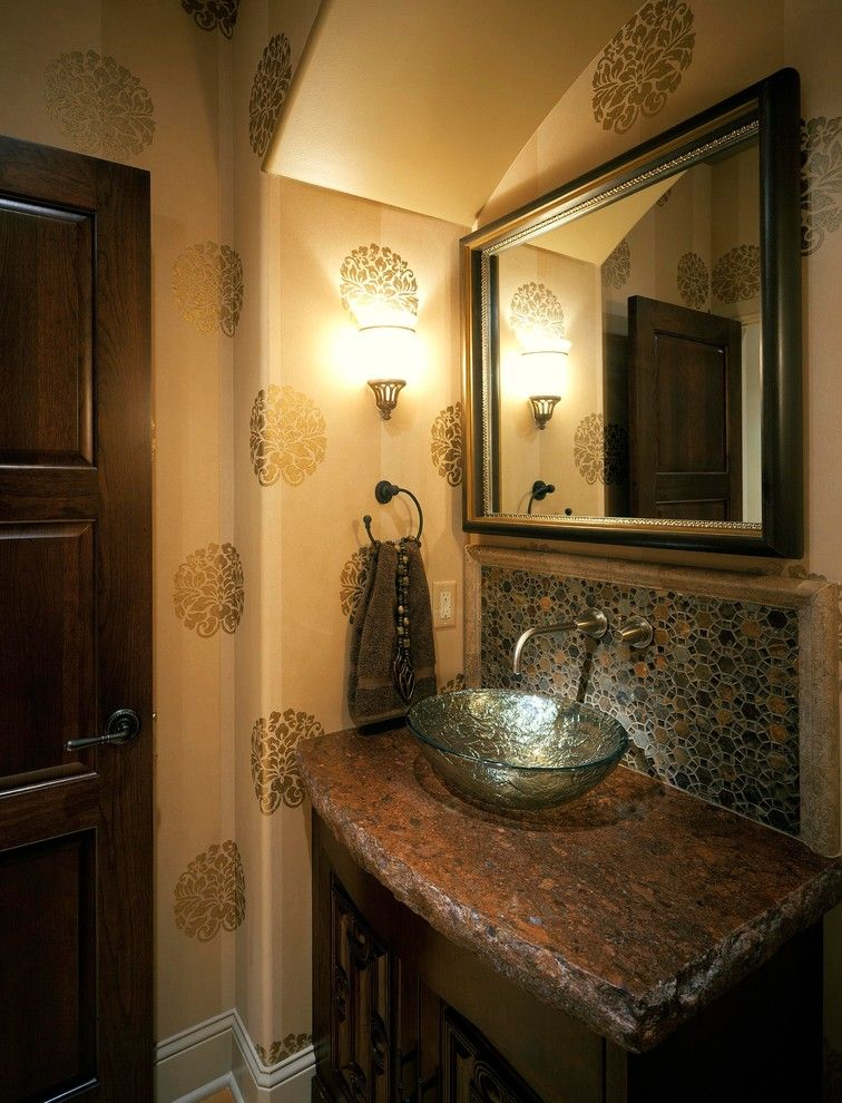 Celebrity Homes Omaha for a Mediterranean Bathroom with a Tile Backsplash and Mediterranean Showhome by Curt Hofer & Associates