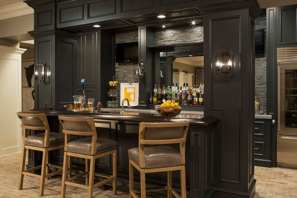 Central Valley Builders Supply for a Transitional Home Bar with a Tile Floor and Minnesota Residence by Martha O'hara Interiors