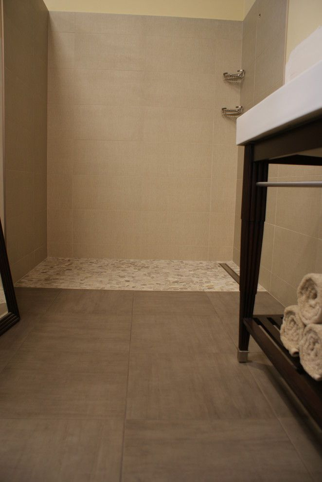 Ceramic Tileworks for a Contemporary Bathroom with a Shower with Curb and Modern   Olive by Ceramic Tileworks
