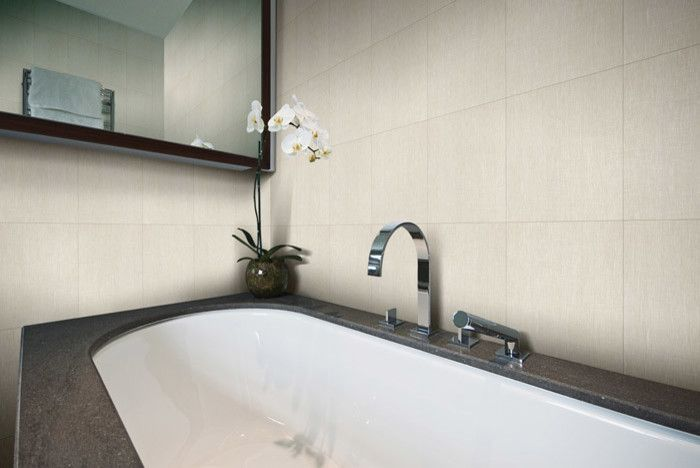 Ceramic Tileworks for a Modern Bedroom with a Linen Look Porcelain Tile and Touch by Ceramic Tileworks