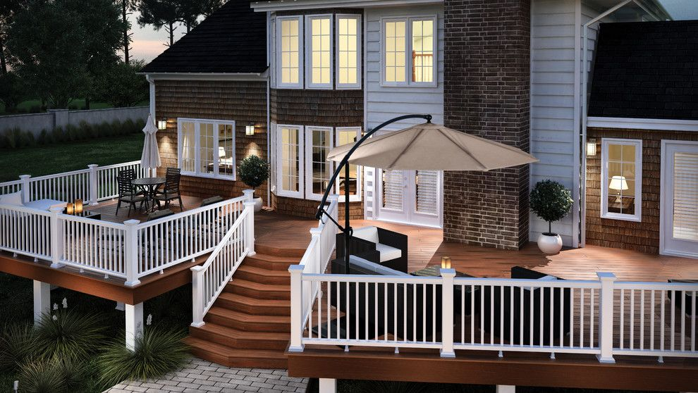 Certainteed Landmark Shingles for a  Deck with a White Railing and Fiberon by Fiberon Decking