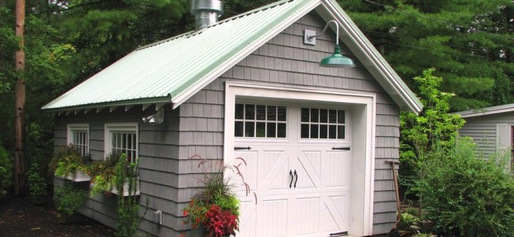 Certainteed Landmark Shingles for a Traditional Garage with a Container Gardens and Garage Renovation, Wrentham, MA by Garden Tech Horticultural Services LLC