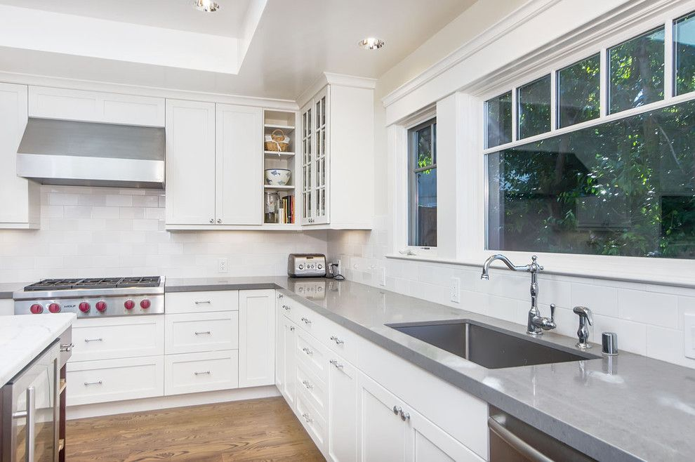 Cesar Stone for a Craftsman Kitchen with a Beverage Cooler and Menlo Park Residence by Studio S Squared Architecture, Inc.