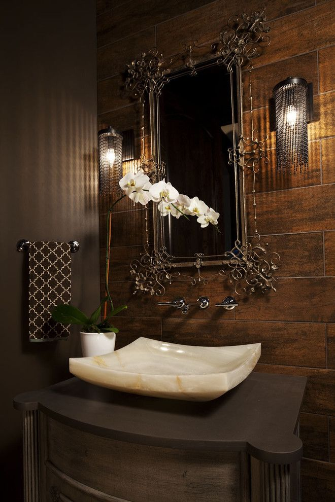 Cesar Stone for a Transitional Bathroom with a Wall Mount Faucet and Olstad Drive Residence Bathroom by Martha O'hara Interiors