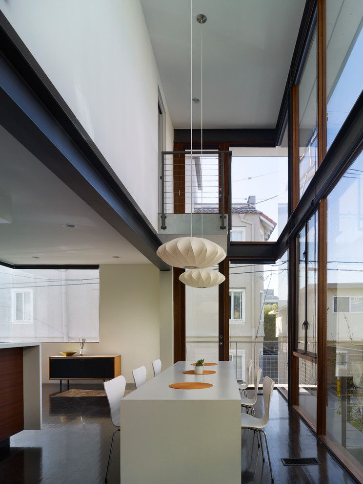Cesarstone for a Modern Dining Room with a Glass Doors and Breeze House by R&d Architects
