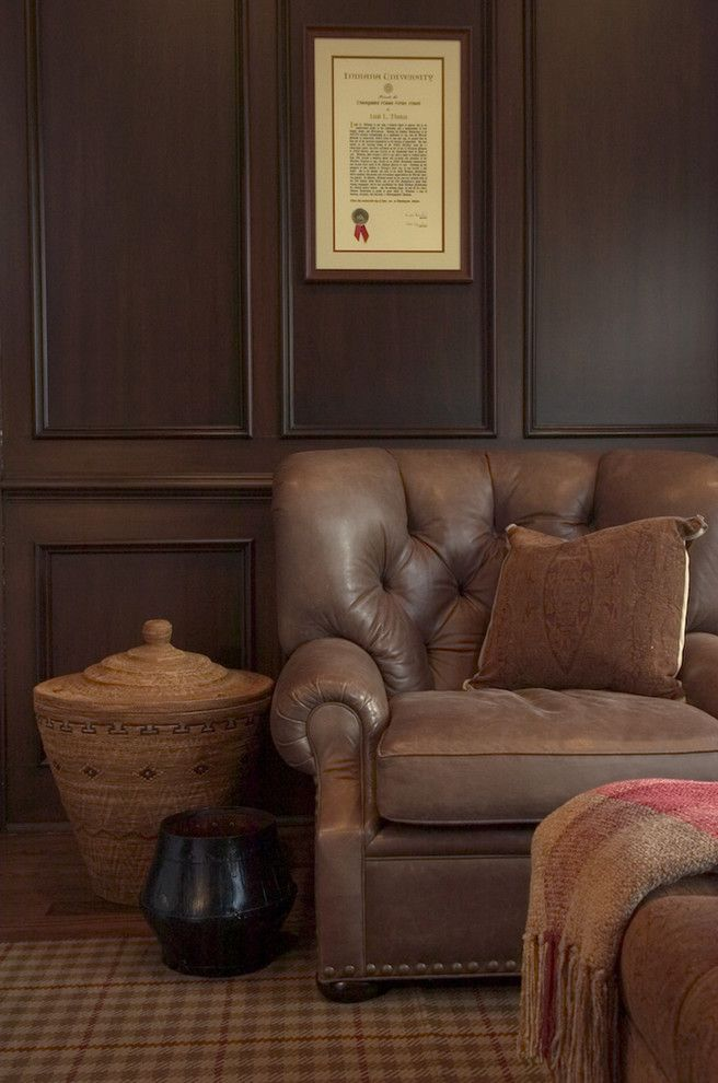Chair Rail Height for a Traditional Family Room with a Nailhead Trim and Architecture and Interior Design by Ed Ritger Photography