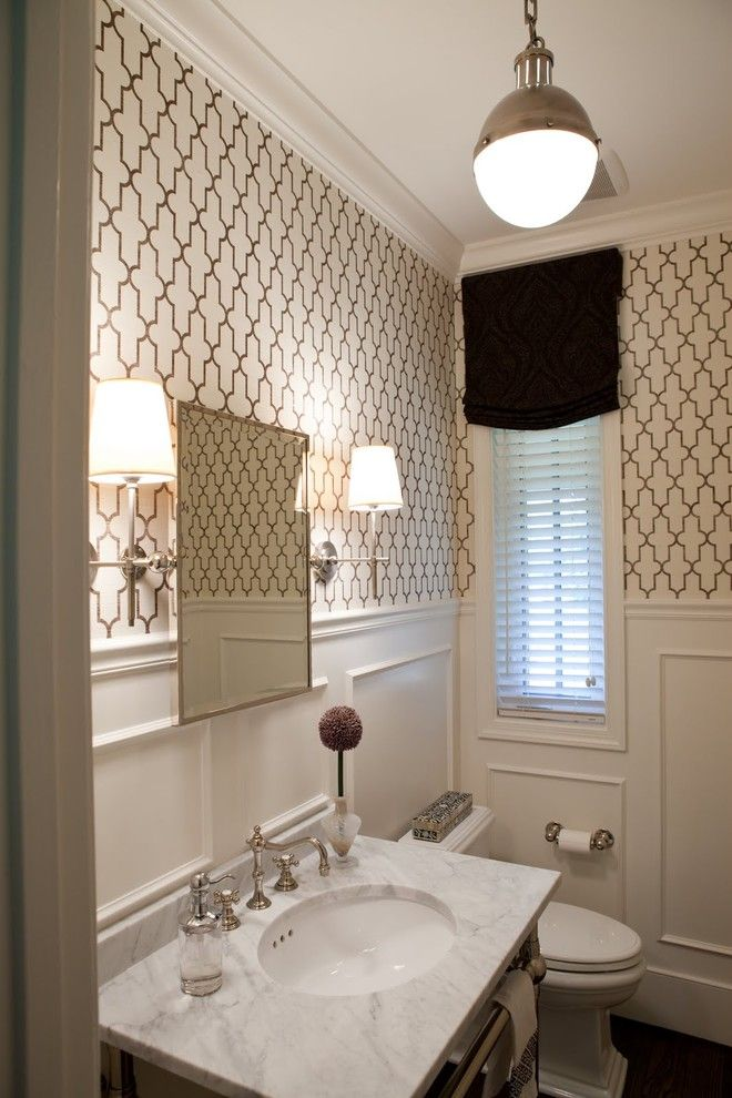 Chair Rail Height for a Traditional Powder Room with a Bathroom Mirror and Powder Room by Elizabeth Reich