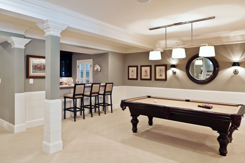 Chair Rail Height for a Transitional Basement with a Crown Molding and Dream House Studios, Inc. by Dream House Studios