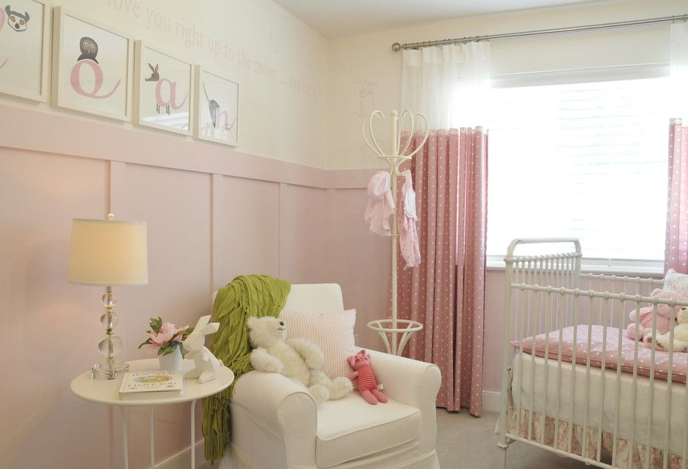 Chair Rail Height for a Transitional Nursery with a Coat Rack and Kids Bedrooms by Warline Painting Ltd.